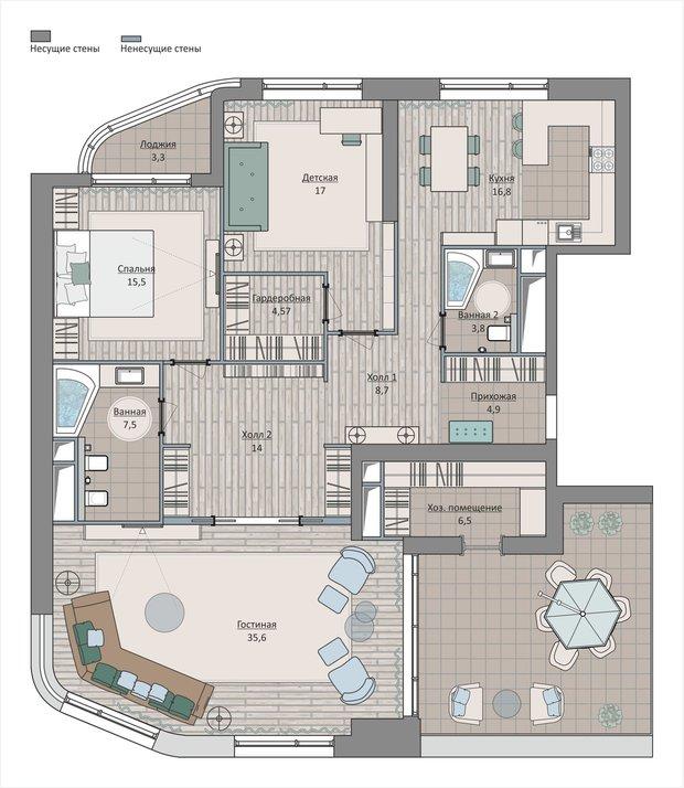 Фотография: Планировки в стиле , Квартира, Перепланировка, Москва, Ирина Леготкина, Монолитный дом, 4 и больше, Более 90 метров, ЖК «Символ» – фото на INMYROOM