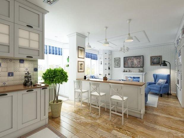 Фотография: Гостиная в стиле Прованс и Кантри, Кухня и столовая, Декор интерьера, Квартира, Студия, Дом, барная стойка на кухне, кухня-гостиная с барной стойкой – фото на INMYROOM