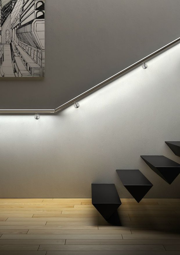 Фотография: Декор в стиле Минимализм, Архитектура, Мебель и свет, Ремонт на практике, Никита Морозов, освещение для лестницы, какую выбрать лестницу, какие бывают лестницы, прямая лестница, винтовая лестница, лестница на больцах, подвесная лестница, ограждение для лестниц, как украсить лестницу – фото на INMYROOM