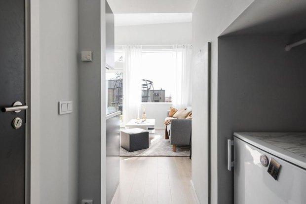 Фотография:  в стиле , Белый, Черный, Серый, Дом и дача, до 40 метров – фото на INMYROOM