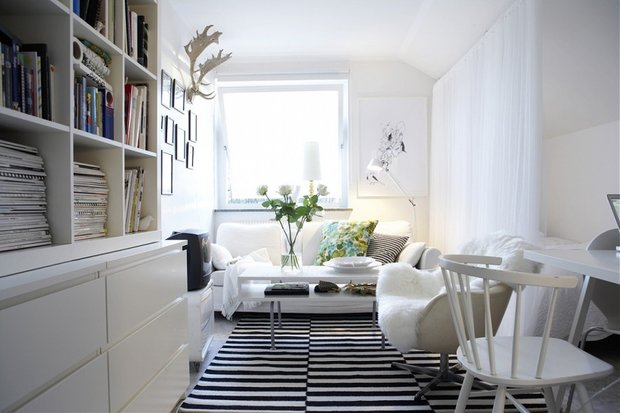 Фотография: Гостиная в стиле Скандинавский, Дизайн интерьера, Цвет в интерьере – фото на INMYROOM