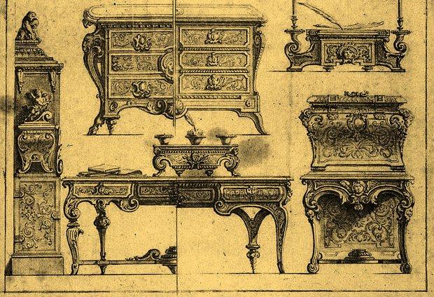 Эскизы предметов, изготовленных в мастерской Буля
