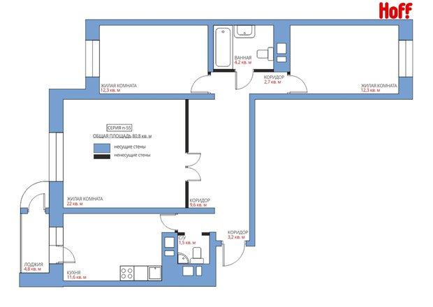 Фотография:  в стиле , Квартира, HOFF, Перепланировка, HOFF, Анастасия Киселева, П-111М, Панельный дом, 3 комнаты, 60-90 метров – фото на InMyRoom.ru