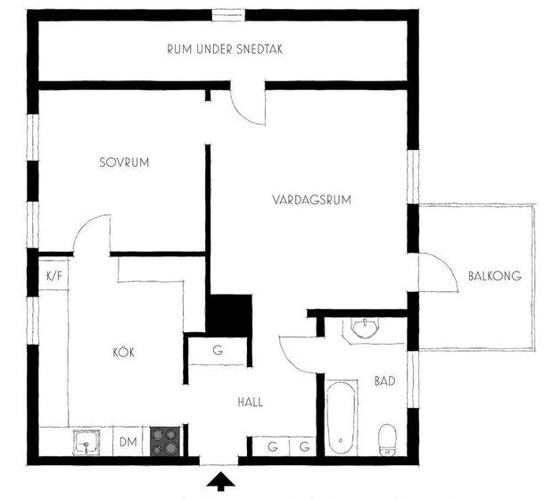 Фотография: Планировки в стиле , Скандинавский, Современный, Квартира, Советы, Минимализм, 40-60 метров – фото на INMYROOM