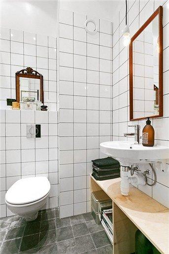 Фотография: Ванная в стиле Современный, Скандинавский, Декор интерьера, Квартира, Цвет в интерьере, Дома и квартиры, Белый, Индустриальный – фото на INMYROOM