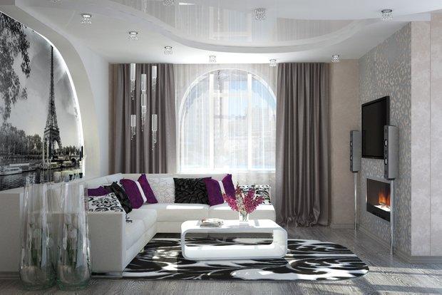 Фотография: Гостиная в стиле Хай-тек, Декор интерьера, Декор, текстиль в интерьере, декор окна, выбор штор для интерьера – фото на INMYROOM