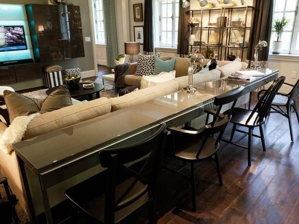 Фотография: Гостиная в стиле Современный, Кухня и столовая, Интерьер комнат, Барная стойка – фото на INMYROOM