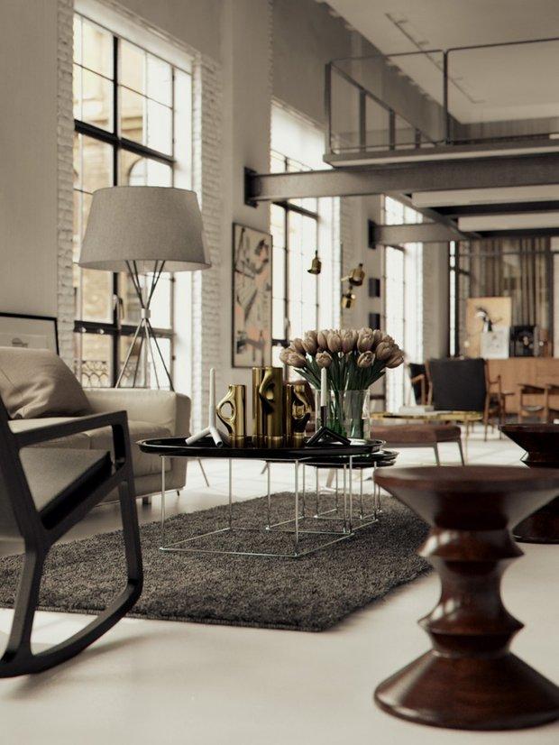 Фотография: Гостиная в стиле Лофт, Декор интерьера, Малогабаритная квартира, Квартира, Дома и квартиры, Советы, Зеркало – фото на InMyRoom.ru