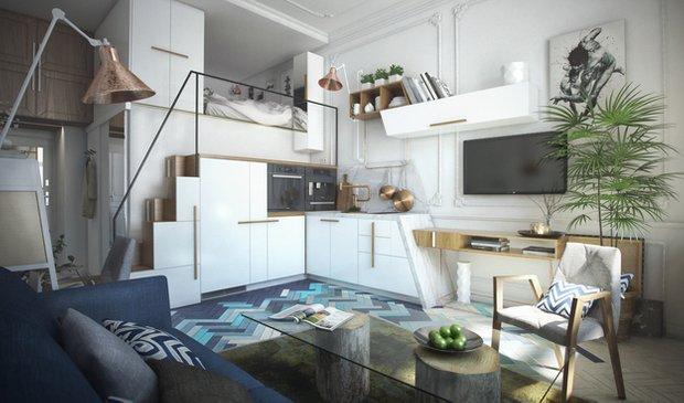 Фотография:  в стиле , Малогабаритная квартира, Квартира, Гид – фото на INMYROOM