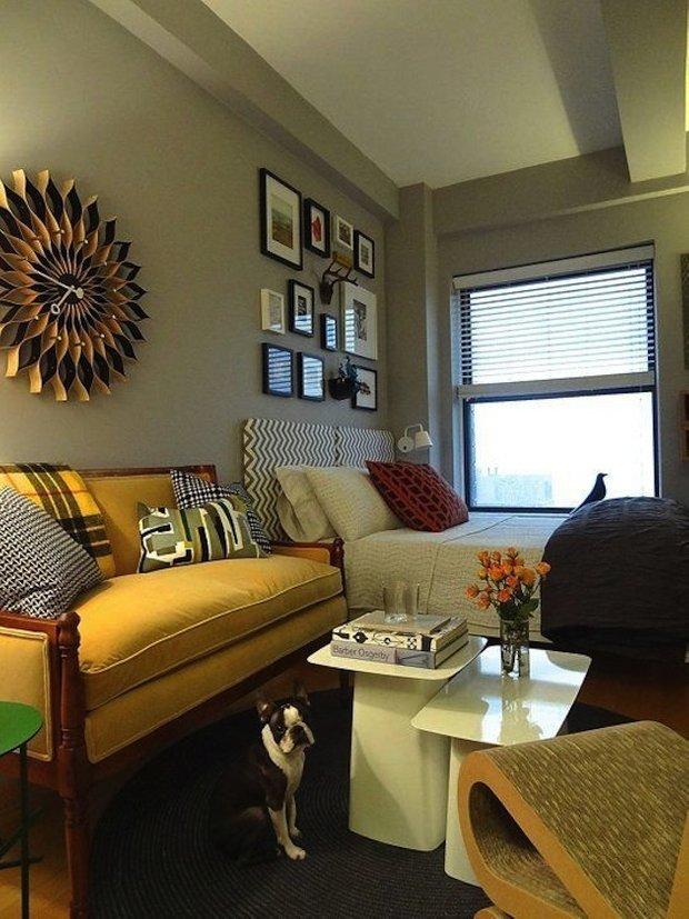 Фотография: Гостиная в стиле Современный, Эклектика, Малогабаритная квартира, Квартира, Дома и квартиры – фото на INMYROOM