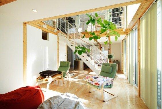 Фотография: Гостиная в стиле Эко, Дом, Дома и квартиры, Япония – фото на INMYROOM