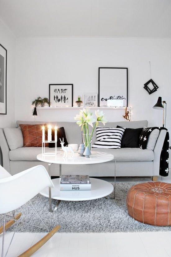 Фотография: Гостиная в стиле Скандинавский, Малогабаритная квартира, Квартира, Декор, Советы – фото на INMYROOM