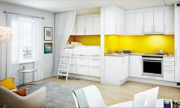 Фотография: Гостиная в стиле Современный, Кухня и столовая, Малогабаритная квартира, Интерьер комнат – фото на INMYROOM