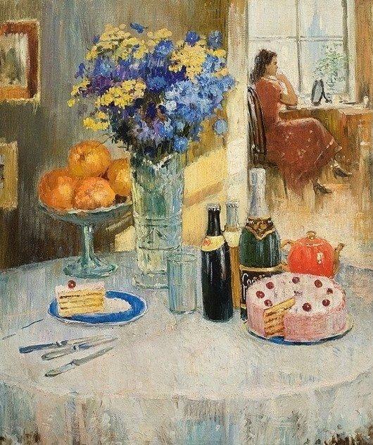 Пименов Юрий Иванович (Россия, 1903 - 1977) «Богато накрытый стол»