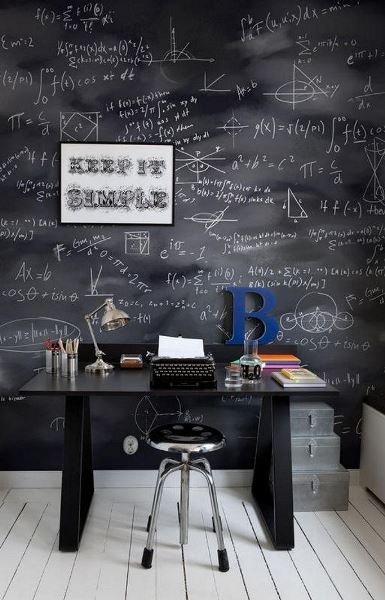 Фотография: Кабинет в стиле Скандинавский, Декор интерьера, DIY, Декор, грифельная краска, графитовая краска, краска для школьных досок в интерьере, грифельная краска с эффектом школьной доски – фото на INMYROOM