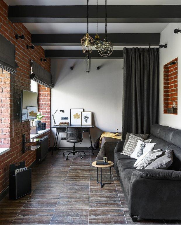 Фотография: Гостиная в стиле Лофт, Малогабаритная квартира, Гид – фото на INMYROOM