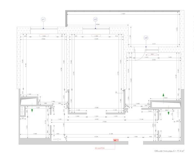 Пример обмерного плана из проекта студии «Уютная Квартира»