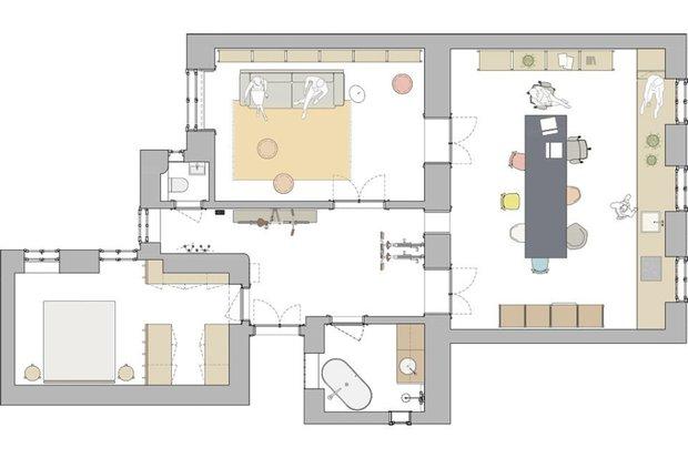 Фотография: Планировки в стиле , Скандинавский, Декор интерьера, Квартира, Белый, Синий, Серый, Более 90 метров – фото на INMYROOM
