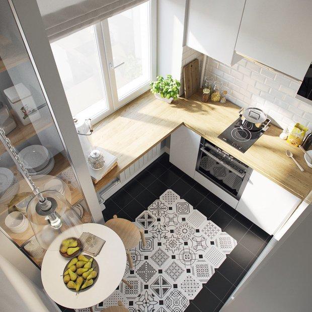 Фотография: Кухня и столовая в стиле Скандинавский, Современный, Советы, маленькая кухня, OBI, рабочая зона на кухне – фото на INMYROOM