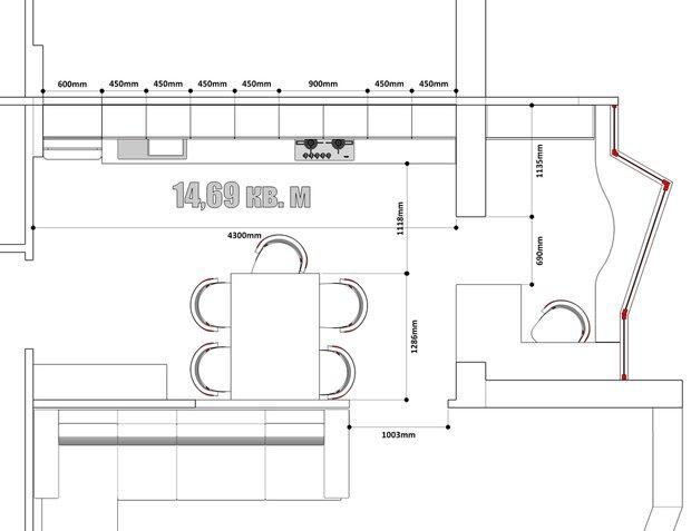Фотография:  в стиле , Кухня и столовая, Белый, Перепланировка, Бежевый, Серый, Степан Бугаев, Mr.Doors, как сделать планировку кухни, планировка линейной кухни, И-155Н – фото на InMyRoom.ru