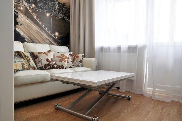 Фотография: Гостиная в стиле Лофт, Современный, Кухня и столовая, Малогабаритная квартира, Квартира, Интерьер комнат, Фотообои – фото на INMYROOM