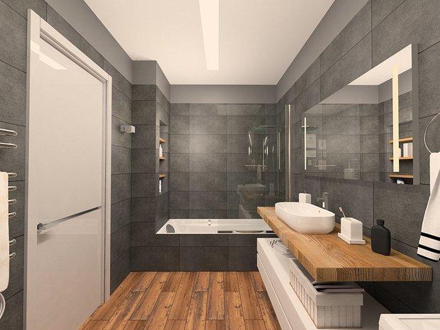 Дизайн: дизайн-бюро DEPO  Отделка стен: керамический гранит Kerama Marazzi, серия «Легион»