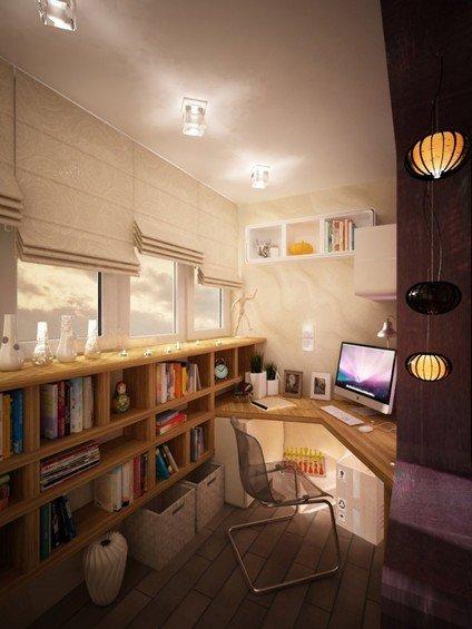 Фотография: Балкон в стиле Современный, Кабинет, Интерьер комнат, Системы хранения – фото на INMYROOM