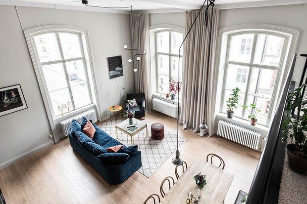 Фотография: Гостиная в стиле Скандинавский, Современный, Эклектика, Декор интерьера, Квартира, Белый, Черный, 2 комнаты, 60-90 метров – фото на INMYROOM
