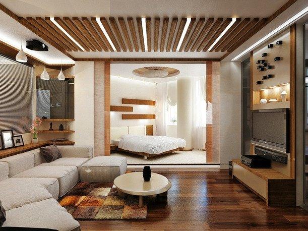 Фотография: Гостиная в стиле Современный, Спальня, Интерьер комнат – фото на INMYROOM