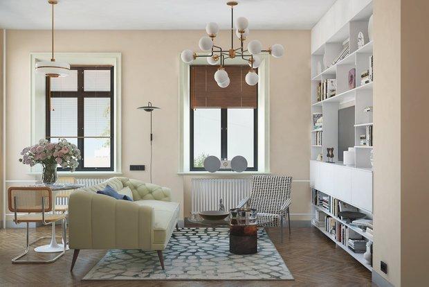 Фотография: Гостиная в стиле Современный, Ремонт на практике, ламинат, ламинат на полу, ламинат на стене – фото на INMYROOM