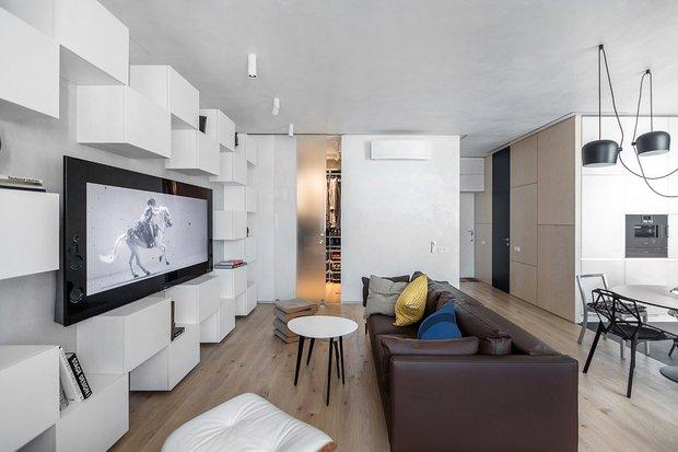 Фотография: Гостиная в стиле Современный, Квартира, Проект недели, Москва, новостройка, Монолитный дом, Megabudka, 2 комнаты, 60-90 метров – фото на INMYROOM