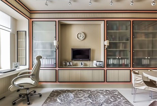 Фотография: Гостиная в стиле Классический, Современный, Кабинет, Интерьер комнат – фото на INMYROOM