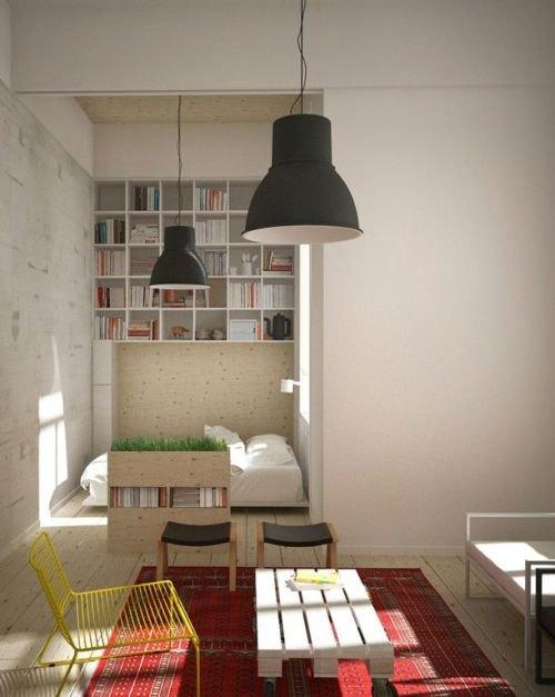 Фотография: Гостиная в стиле Лофт, Спальня, Интерьер комнат – фото на INMYROOM