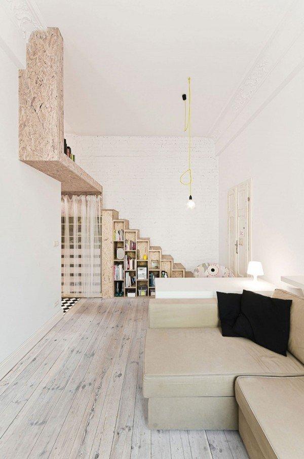 Фотография: Гостиная в стиле Лофт, Малогабаритная квартира, Квартира, Дома и квартиры, Минимализм – фото на INMYROOM