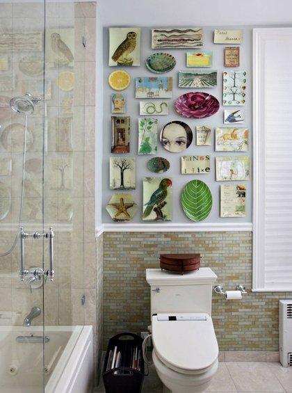 Фотография: Ванная в стиле Прованс и Кантри, Декор интерьера, Декор дома, Цвет в интерьере, Обои – фото на InMyRoom.ru