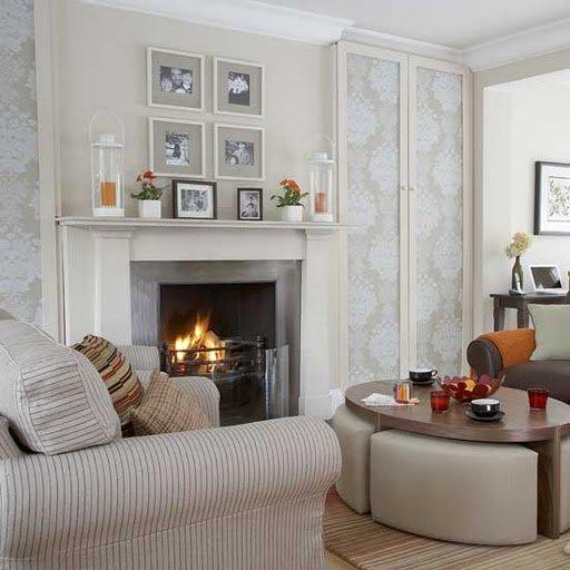 Фотография: Гостиная в стиле Современный, Декор интерьера, Декор дома, Праздник, Камин, Биокамин – фото на INMYROOM