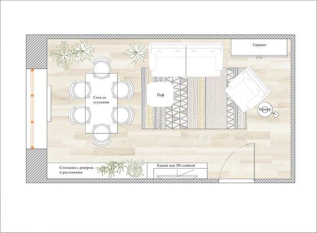 Планировка гостиной в скандинавском стиле