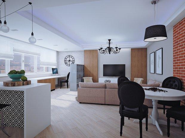 Фотография: Гостиная в стиле Лофт, Современный, Эклектика, Классический, Квартира, Планировки, Мебель и свет, Проект недели – фото на INMYROOM