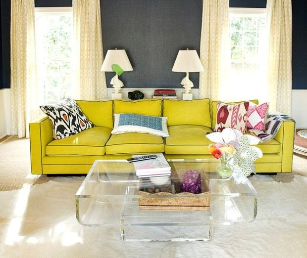 Фотография: Гостиная в стиле Современный, Декор интерьера, Дизайн интерьера, Цвет в интерьере, Желтый, Розовый, Оранжевый, Неон – фото на INMYROOM