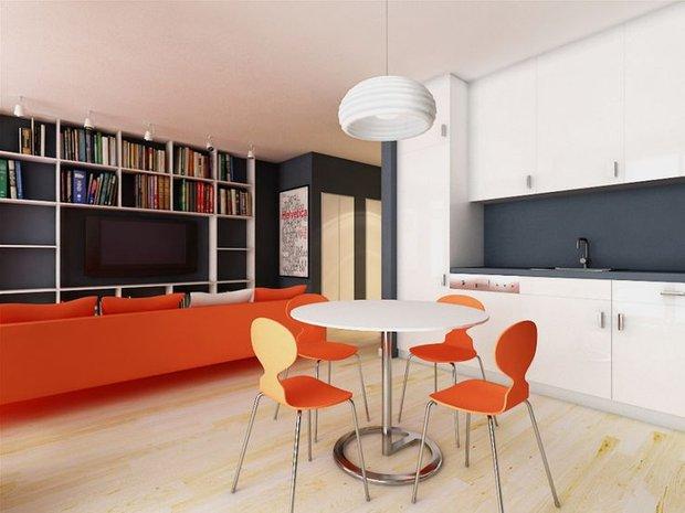 Фотография: Кухня и столовая в стиле Скандинавский, Современный, Декор интерьера, Дизайн интерьера, Цвет в интерьере, Оранжевый – фото на INMYROOM
