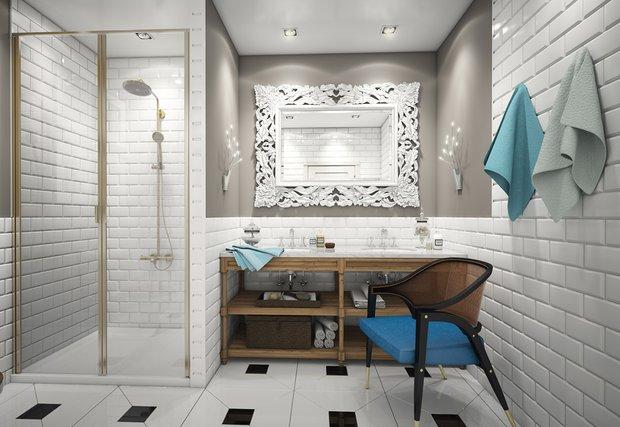 Фотография:  в стиле , Ванная, Классический, Квартира, Проект недели – фото на INMYROOM