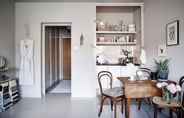 Фотография: Кухня и столовая в стиле Скандинавский, Малогабаритная квартира, Гид, энциклодпедия_малогабаритка – фото на INMYROOM