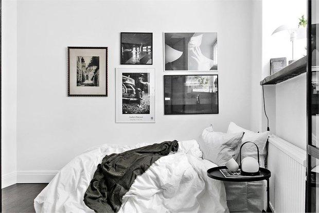 Фотография: Спальня в стиле Скандинавский, Малогабаритная квартира, Квартира, Швеция, Советы, Стокгольм, 1 комната, до 40 метров – фото на INMYROOM