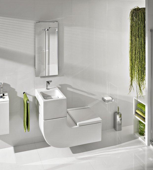 W+W — это экономящее воду решение, объединяющее умывальник с унитазом