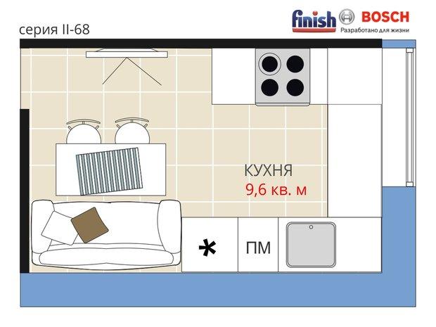 Фотография:  в стиле , Кухня и столовая, Квартира, BOSCH, Перепланировка, Анастасия Киселева, Блочный дом, II-68, Finish, 1 комната, до 40 метров, Евгения Шульженко – фото на INMYROOM
