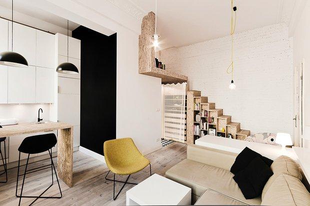 Фотография: Гостиная в стиле Скандинавский, Современный, Малогабаритная квартира, Квартира, Дома и квартиры – фото на INMYROOM