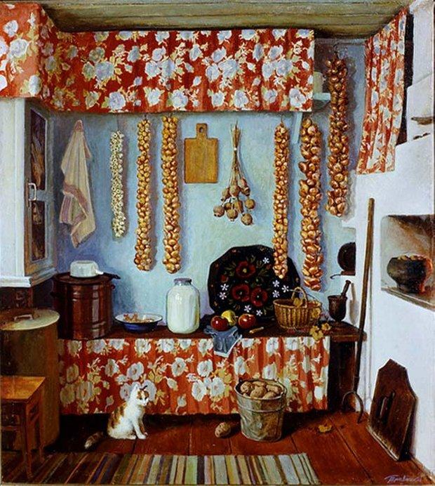 Травников Герман Алексеевич (Россия, 1937) «Кухня» центральная часть триптиха «Отчий дом» 1985