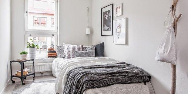 Фотография: Спальня в стиле Скандинавский, Малогабаритная квартира, Квартира, Дома и квартиры, Ретро – фото на INMYROOM