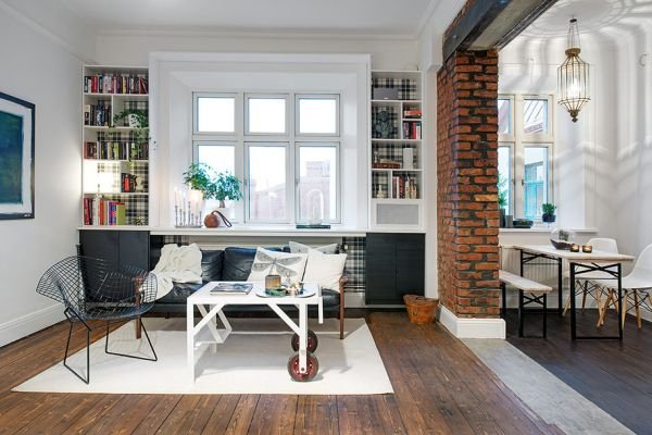 Фотография: Гостиная в стиле Лофт, Скандинавский, Квартира, Дом, Ремонт на практике – фото на INMYROOM