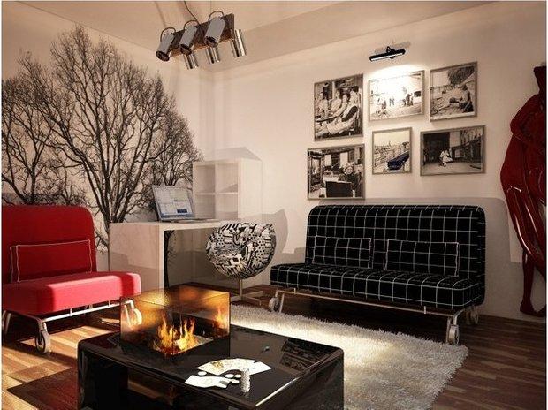 Фотография: Гостиная в стиле Эклектика, Малогабаритная квартира, Квартира, Дома и квартиры, Мебель-трансформер – фото на INMYROOM